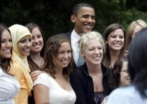 Obama with a Hijabi at Wayne State Univ