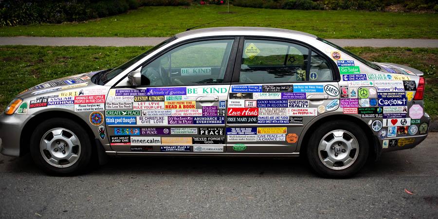 Bumper sticker car